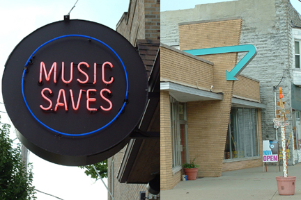 Music Saves (left) and Blue Arrow (right)